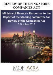 REVIEW OF THE SINGAPORE COMPANIES ACT - Ministry of Finance