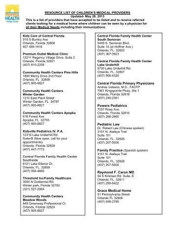 Resource List of Children's Medical Providers - Orange County ...