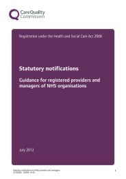 Statutory notifications - Care Quality Commission