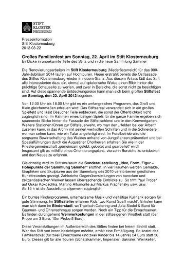 Stiftsfest Pressetext_Neu_END (pdf, 64.41 KB) - Stift Klosterneuburg