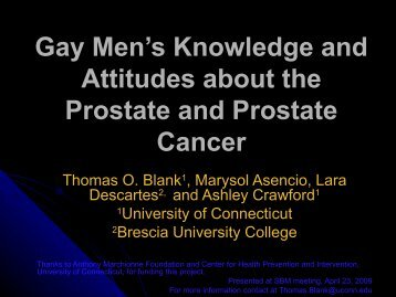 Gay Men's Knowledge and Attitudes about the Prostate and Prostate ...