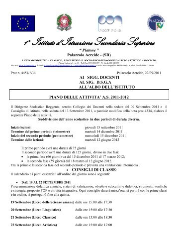 piano annuale delle attivita' 2011/2012 - Liceo Platone