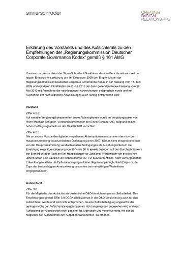 Erklärung des Vorstands und des Aufsichtsrats zu den ...