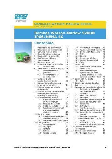 Bombas Watson-Marlow 520UN IP66/NEMA 4X Contenido