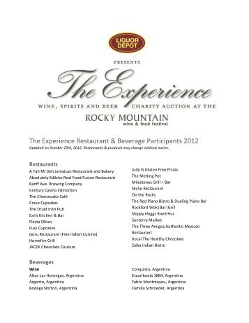 The Experience Participants - Rocky Mountain Wine and Food Festival