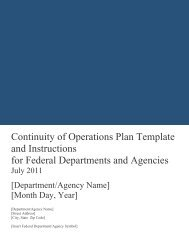 Continuity of Operations Plan Template and Instructions for Federal ...