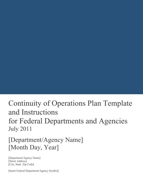 Continuity Of Operations Plan Template And Instructions For Federal