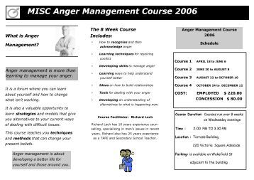 Information on Anger Management Daytime Courses for Men
