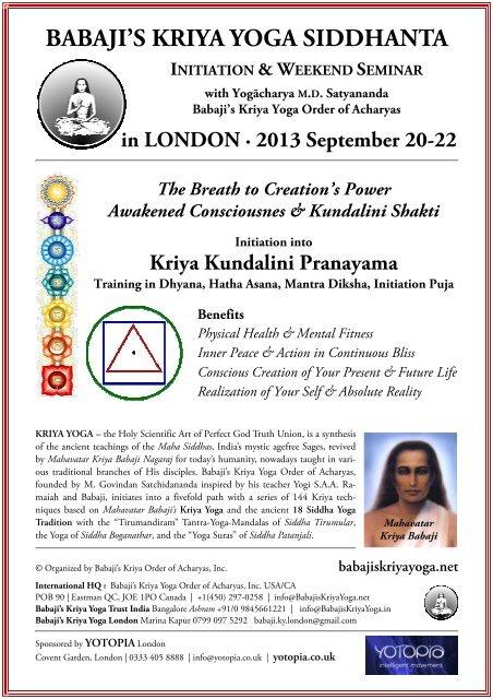 First Initiation Seminar Babaji S Kriya Yoga