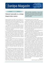 Pályázati tanácsadás és az Európa Magazin helye a piacon