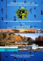 Mineralurgia a environmentálne technológie - Fakulta BERG - TUKE