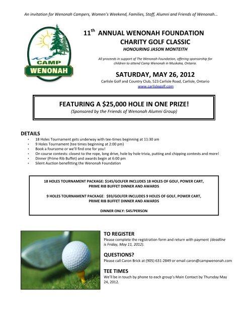 annual wenonah foundation charity golf classic - Camp Wenonah