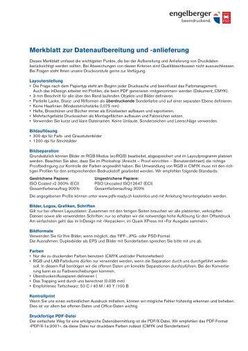 Merkblatt zur Datenaufbereitung und -anlieferung