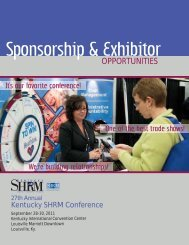 Sponsorship & Exhibitor - Kentucky SHRM Conference