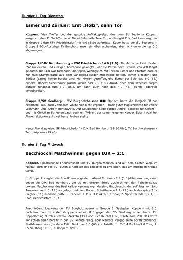 Spiele und Ergebnisse des Turniers [PDF] - Teutonia Köppern