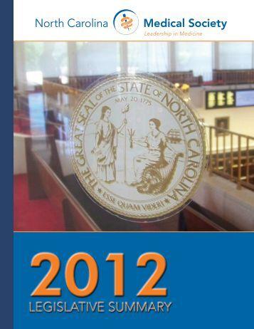 2012 Legislative Summary (PDF) - North Carolina Medical Society