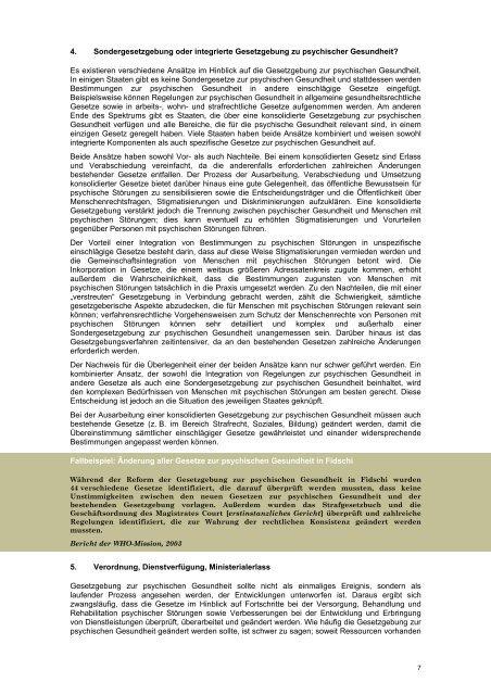 Grundsätze für den Schutz von psychisch Kranken und