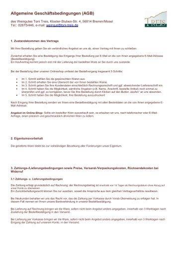 Lieferungs Und Zahlungsbedingungen Weingut Toni Treis