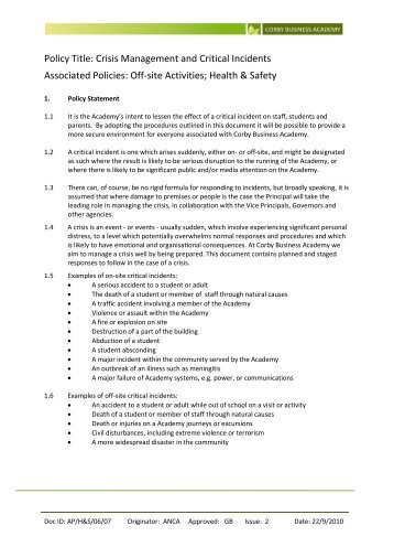H&S/06/07 Critical Incidents & Crisis Management - Corby Business ...