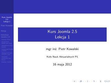 Kurs Joomla 2.5 Lekcja 1