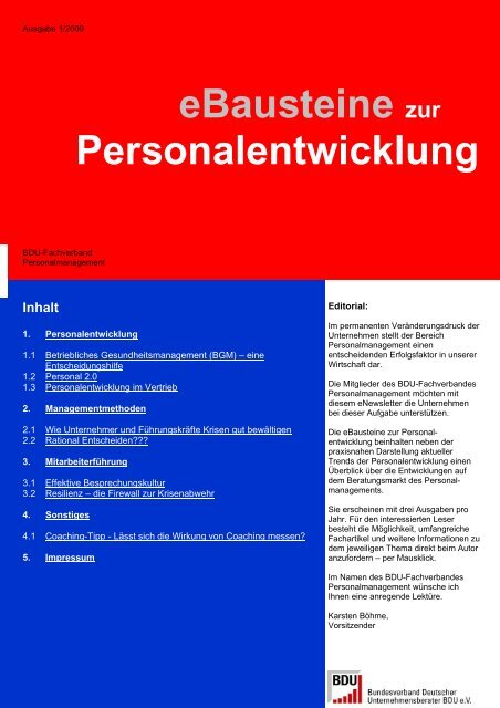 eBausteine zur Personalentwicklung - TOP Trainings-, Organisations