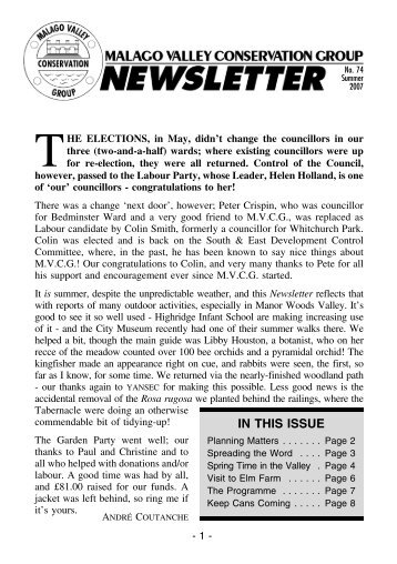 Summer 2007 Newsletter - Malago Valley Conservation Group