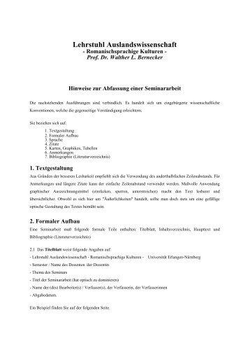 Hinweise zur Abfassung einer Seminararbeit - Lehrstuhl ...