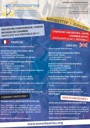 Newsletter janvier 2011 - Eurochestries