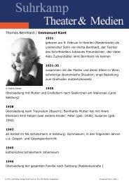 Thomas Bernhard / Immanuel Kant - Suhrkamp