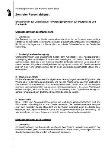 Zentraler Personaldienst - Kanton Basel-Stadt