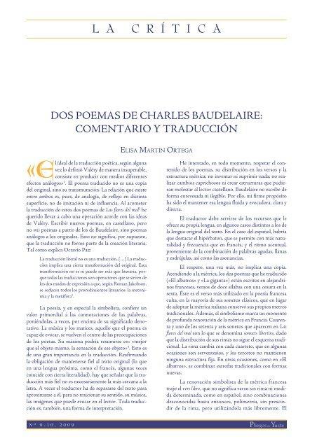 Dos Poemas De Charles Baudelaire Comentarios Pliegos
