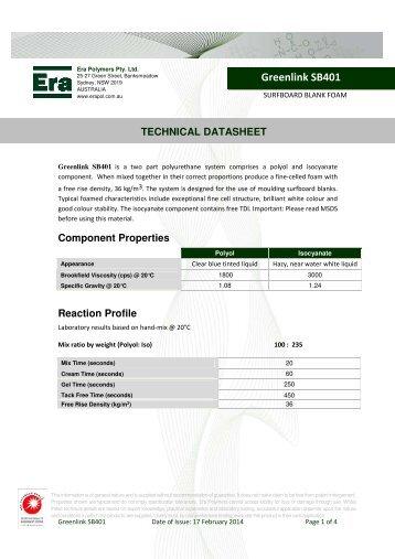 Greenlink SB401 TECHNICAL DATA - Era Polymers