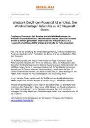 Windpark Creglingen-Frauental ist errichtet. Drei Windkraftanlagen ...