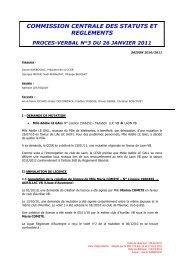 PV 3 - 26 janvier 2011 - Extranet FFVB - Fédération Française de ...