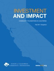 Investment and Impact: Community Foundations in California - LCCF