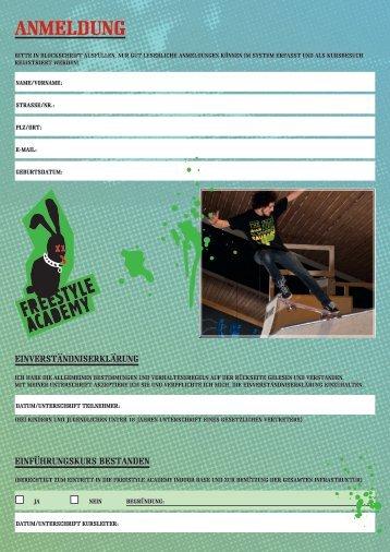 anmeldung - Freestyle Academy