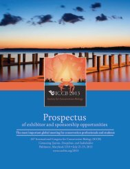 ICCB 2013 Prospectus - Society for Conservation Biology