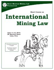 International Mining Law - Rocky Mountain Mineral Law Foundation