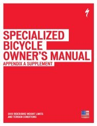 2012 CEN Owner's Manual Appendix A - Specialized Bicycles