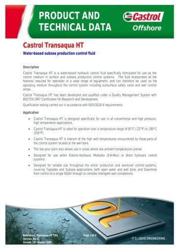 PRODUCT AND TECHNICAL DATA Castrol ... - ER Trading AS