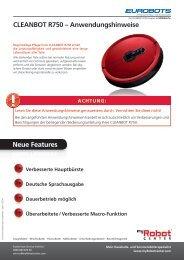 CLEANBOT R750 – Anwendungshinweise Neue ... - myRobotcenter