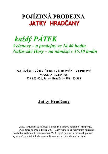 POJÍZDNÁ PRODEJNA - Nalžovské Hory