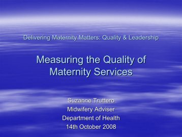 Measuring the Quality of Maternity Services - NHS Employers