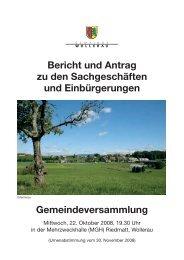 Bericht und Antrag zu den Sachgeschäften und Einbürgerungen ...
