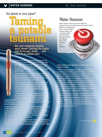 Dan's article about water hammer - Common Ground
