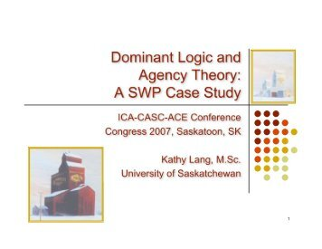 Dominant Logic and Agency Theory: A SWP Case Study