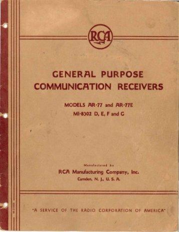 RCA AR-77 Manual