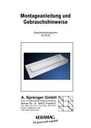 Montageanleitung Waschrinne Active - Varicor