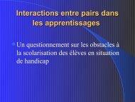 Interactions entre pairs dans les apprentissages - Handisciences