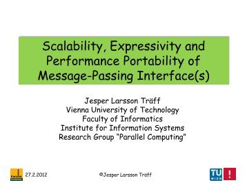 Scalability, Expressivity and Performance Portability of Message ...